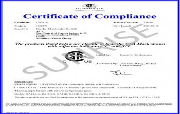 Sunrise Thermocouple CSA Certificate